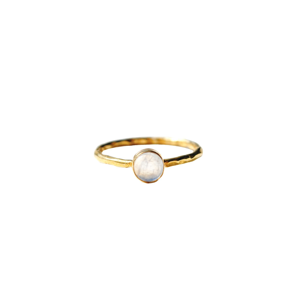 Rainbow Moonstone Dainty Round Rings