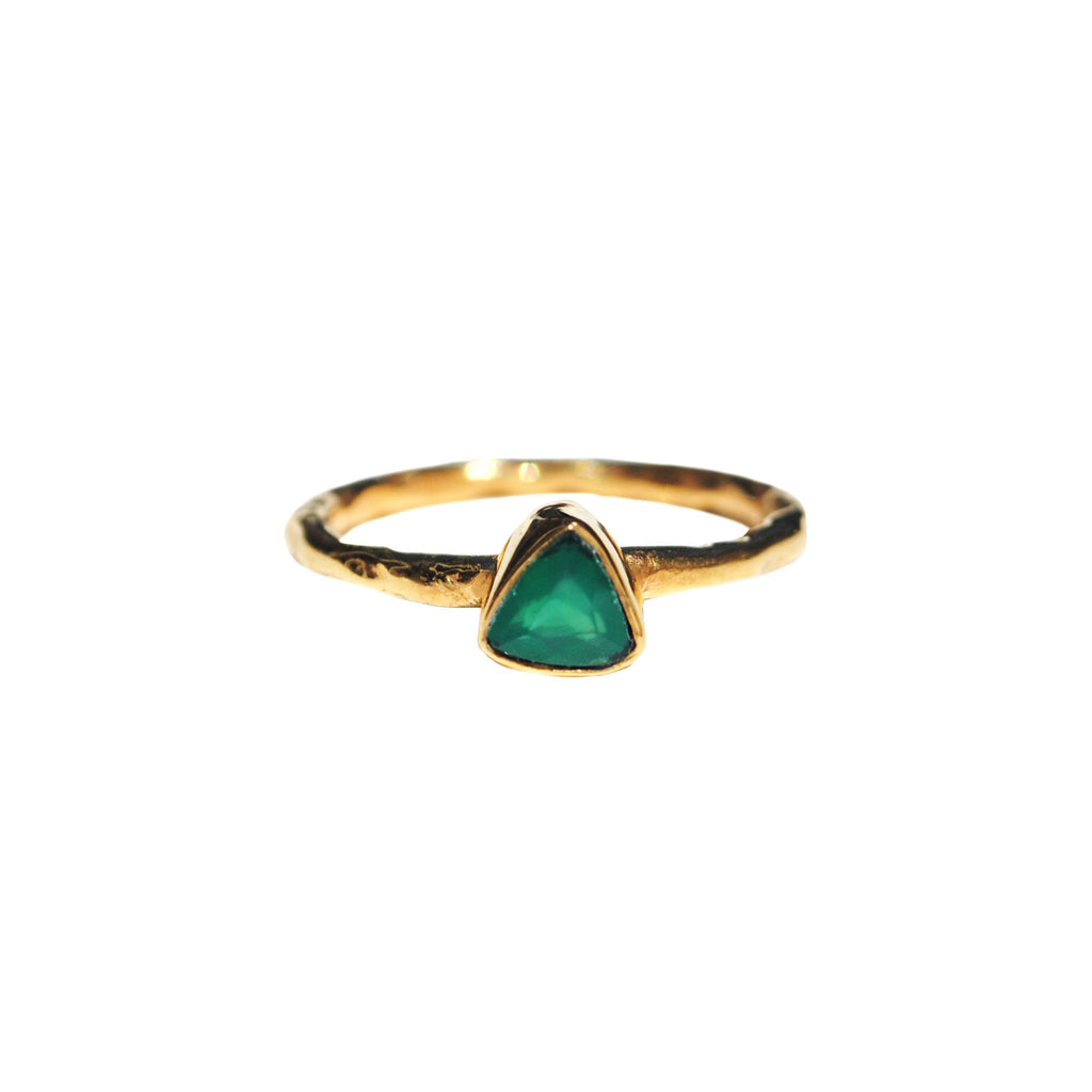Green Onyx Triangle Dainty Rings
