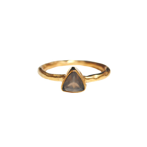 Grey Chalcedony Triangle Dainty Rings