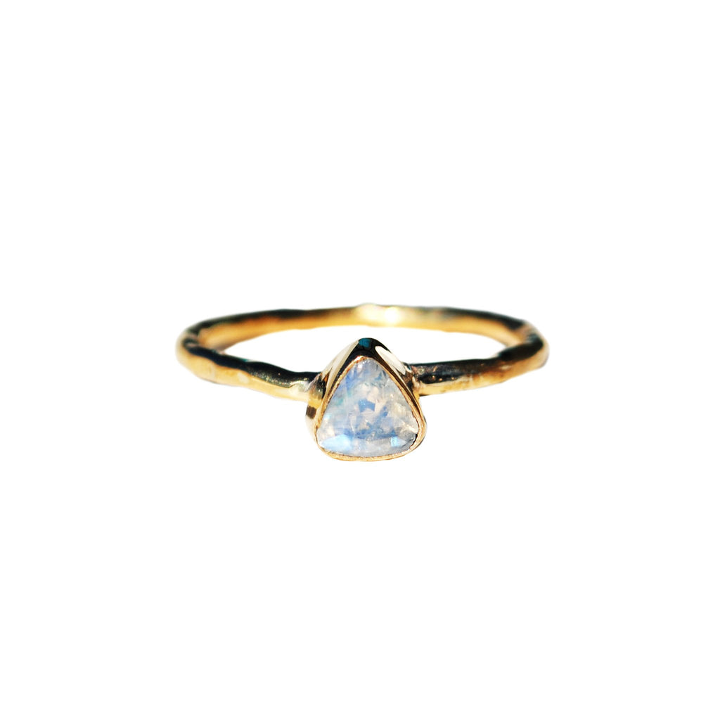 Moonstone Triangle Dainty Rings