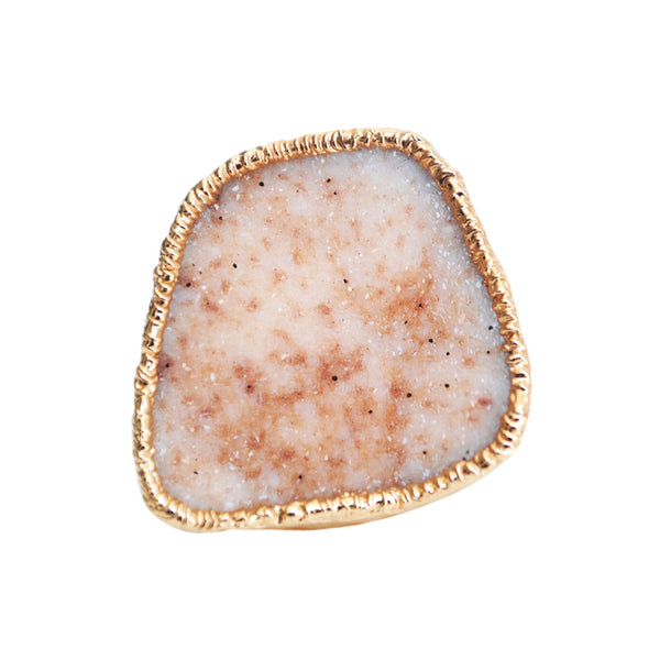 Large Peach Drusy Ring