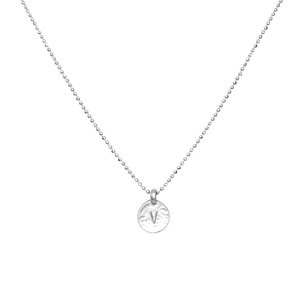 Silver 'V' Initial Necklace