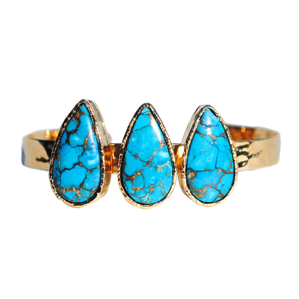 Turquoise Infused Copper Teardrop Cuff