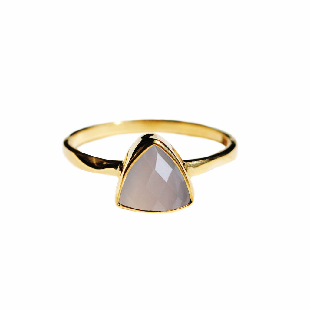 Grey Chalcedony Triangle Ring