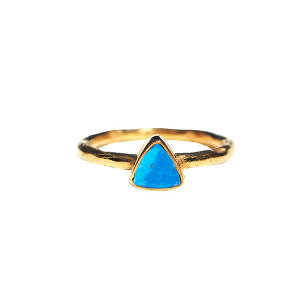 Turquoise Triangle Dainty Ring