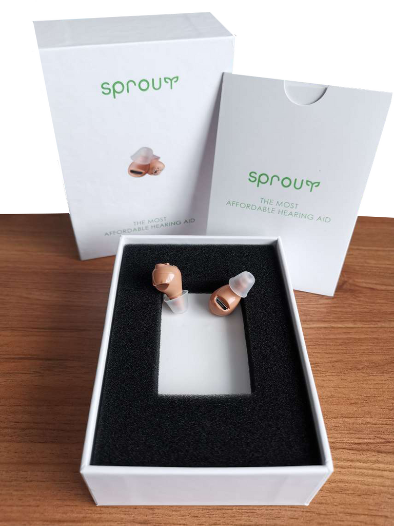 Wireless In Ear CIC Hearing Amplifiers Small In Ear Rechargeable Hearing Aids by Sprout Hearing