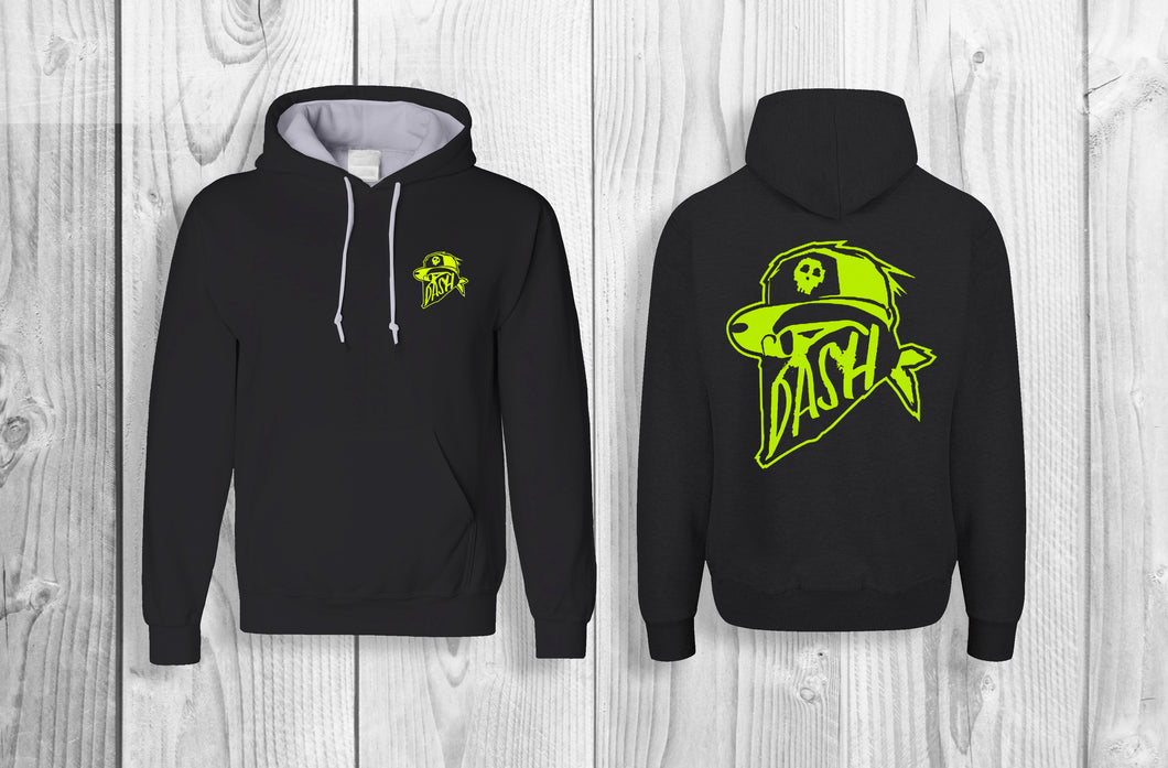 DASH official pullover hoodie Black & Neon Yellow
