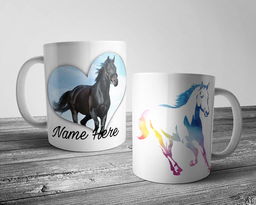 Upload Your Image - Water Colour Silhouette Horse Mug (Personalised)