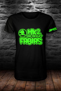 Mk2 Fabias t shirt Black & fluorescent green (personalised with your name!)