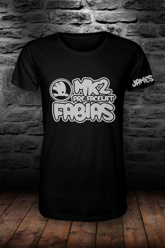 Mk2 Fabias t shirt Black & Silver (personalised with your name!)