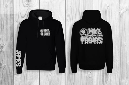 Mk2 Fabias pullover hoodie Black & silver (personalised with your name!)