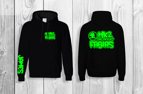 Mk2 Fabias pullover hoodie Black & fluorescent green (personalised with your name!)