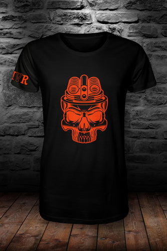 MVR Coil Skull t shirt Black & neon orange