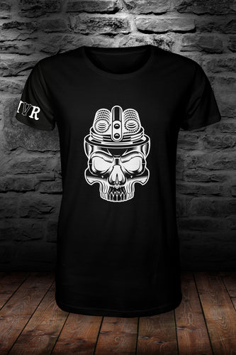MVR Coil Skull t shirt Black & white