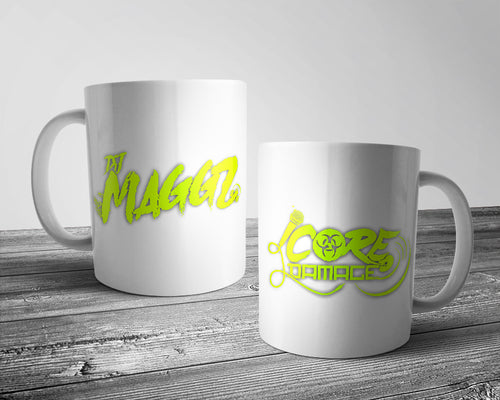DJ Maggz & Core Damage official logo mug white & neon yellow