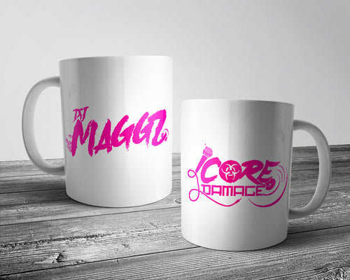 DJ Maggz & Core Damage official logo mug white & pink