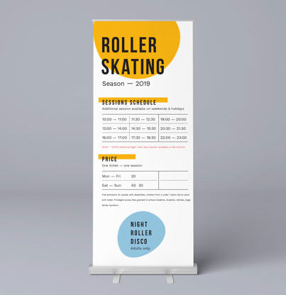 Singled sided standard Roller banner - FREE DESIGN & CARRY CASE