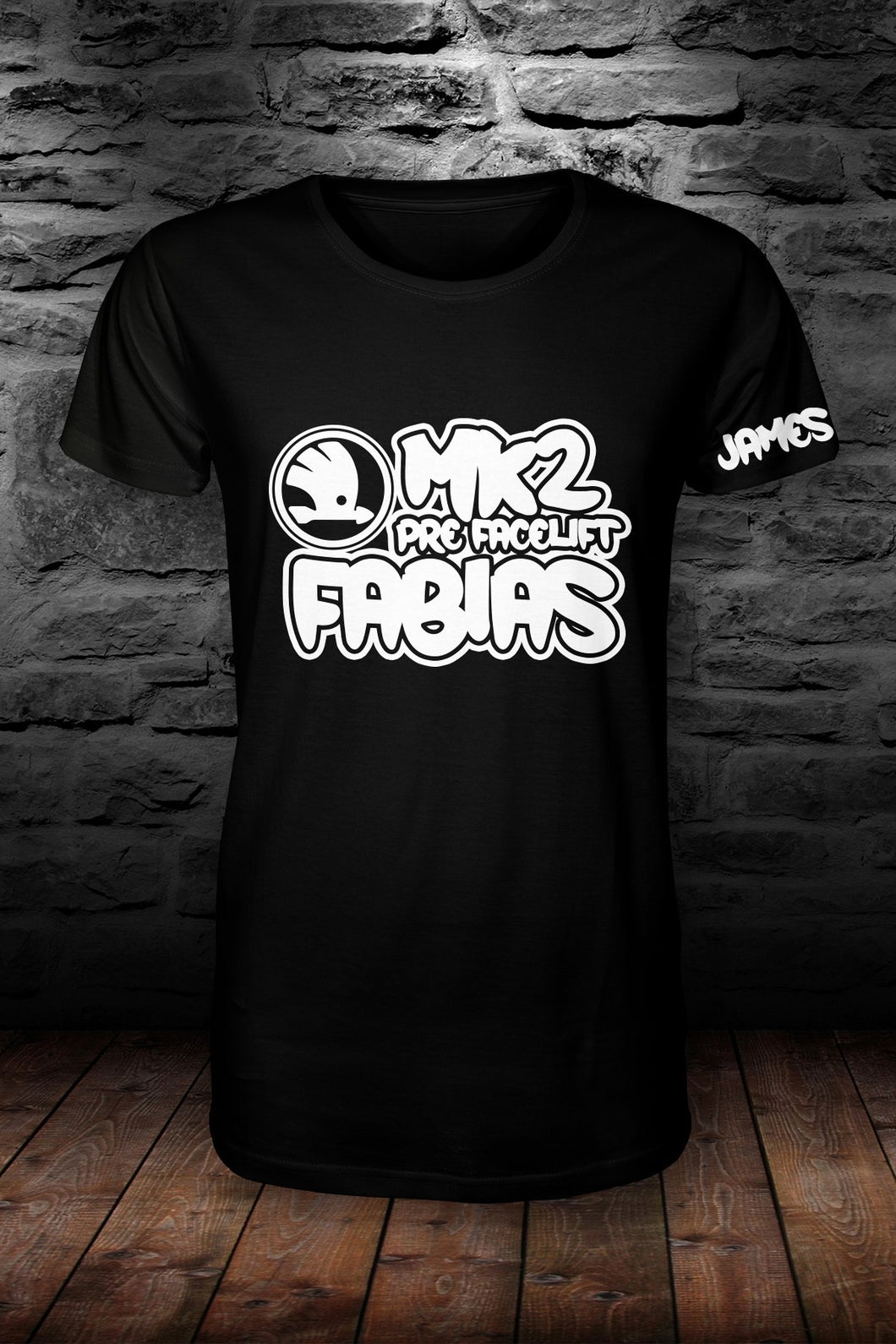 Mk2 Fabias t shirt Black & white (personalised with your name!)