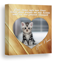 "Load image into Gallery viewer, 20x20"" cats come into our lives... glitter canvas"