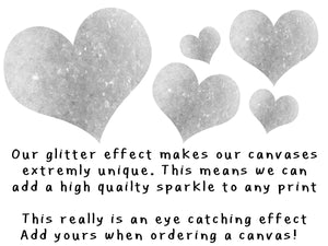 "16x20"" Facebook photo love heart background on polaroid glitter canvas"