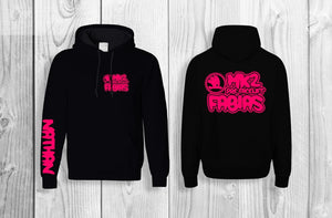Mk2 Fabias pullover hoodie Black & Neon pink (personalised with your name!)