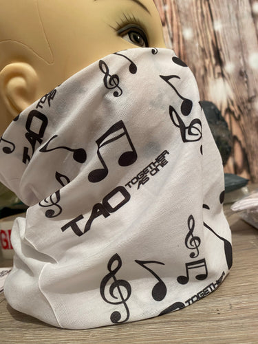 TAO - Together as one white and black snood face scarf cover