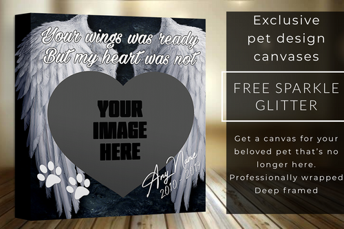 "20x20"" your wings was ready but my heart was not dog glitter canvas"