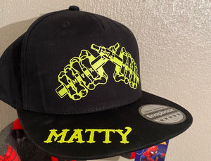 MVR Black & neon yellow (with your name) official SnapBack (FREE STICKERS)