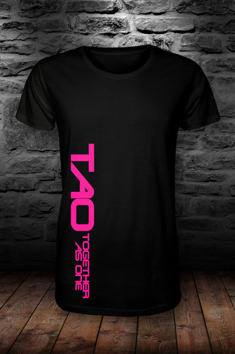 TAO - Together as one SIDEWAYS t shirt Black & pink