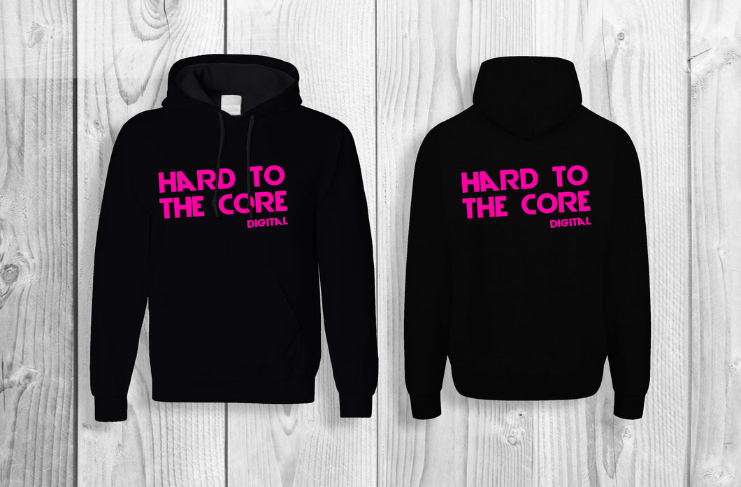Hard to the core official pullover hoodie Black & Neon pink