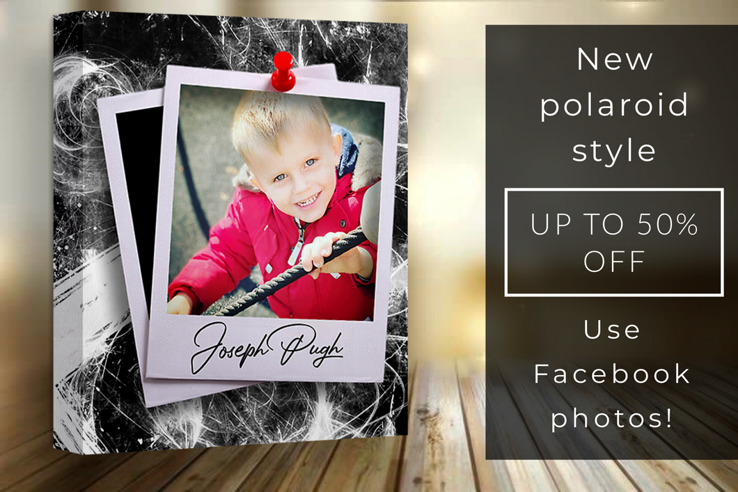 "16x20"" Facebook photos on polaroid glitter canvas"