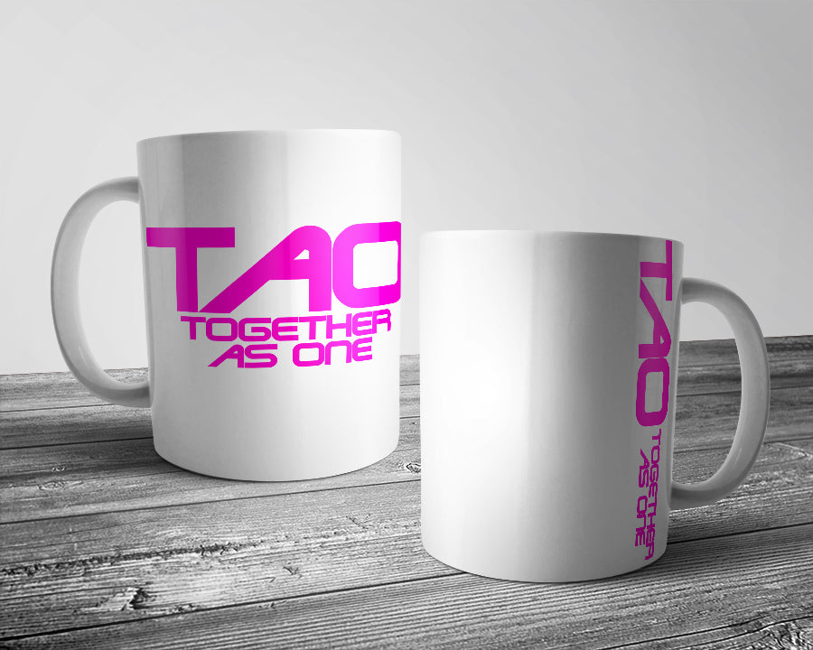 TAO - Together as one official logo mug white & pink