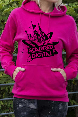 Scarred Digital official pullover hoodie Pink (Personalised)