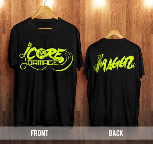 DJ Maggz Core Damage t shirt black and neon yellow