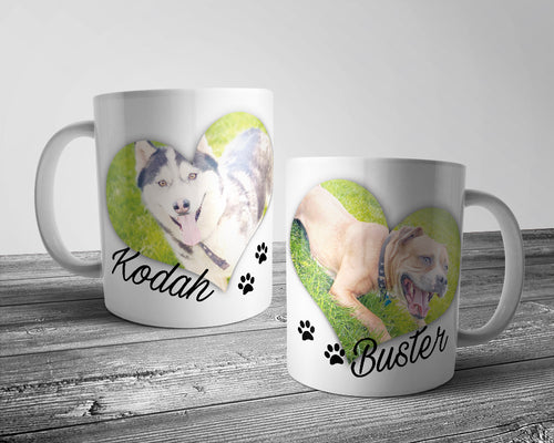 Double heart Dog Mug with paw prints (Personalised)