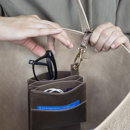 Bag Organizer holds your essentails for easy access to you glasses phone keys cards