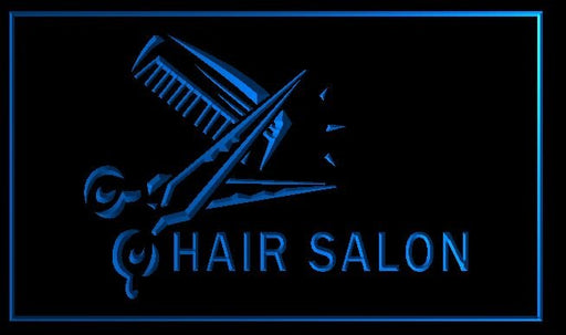 "LED Schild ""Hair Salon"" mit Schere & Kamm"