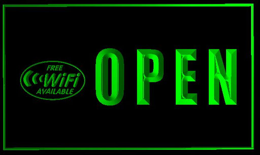 "LED Schild ""Open & Free Wifi"""
