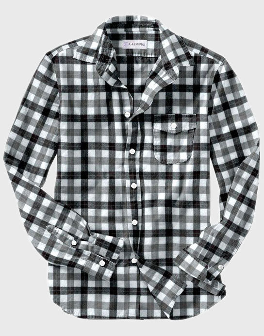 100% Cotton Black Grey Tattersall Flannel shirt