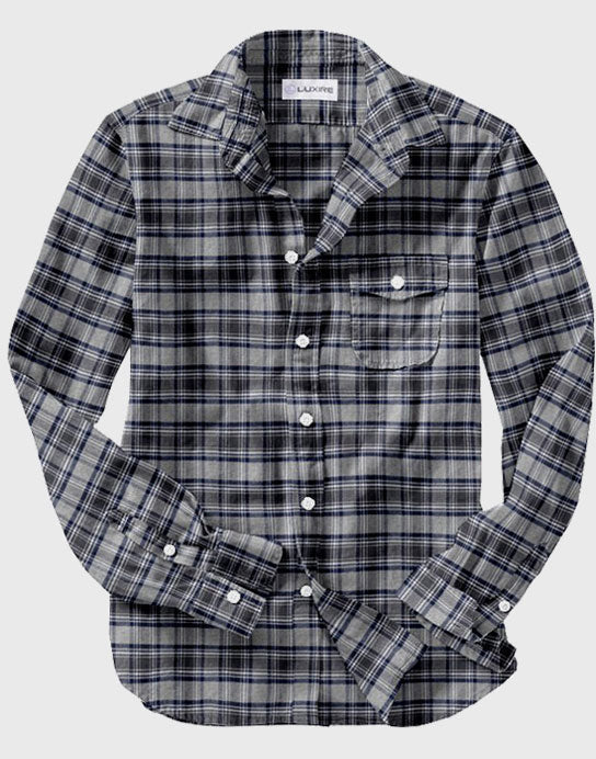 100% Cotton Dark Gull Grey Navy Plaid Flannel Shirt