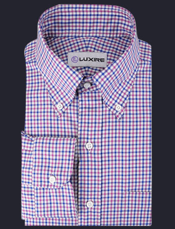 Pinpoint Oxford Blue Pink Tartan Checks