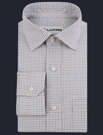 Blue Black Tattersall Checks on White