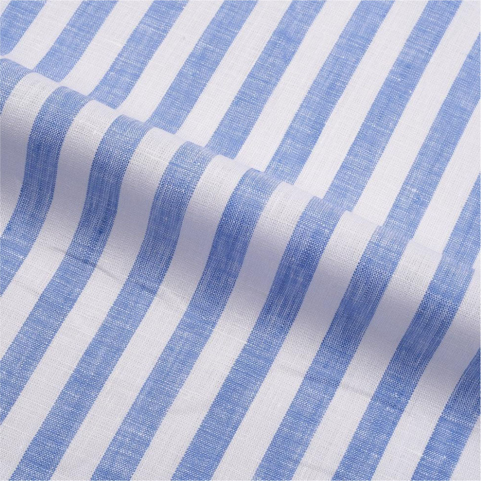 Pullover Shirt in Blue  Awning Stripes Linen
