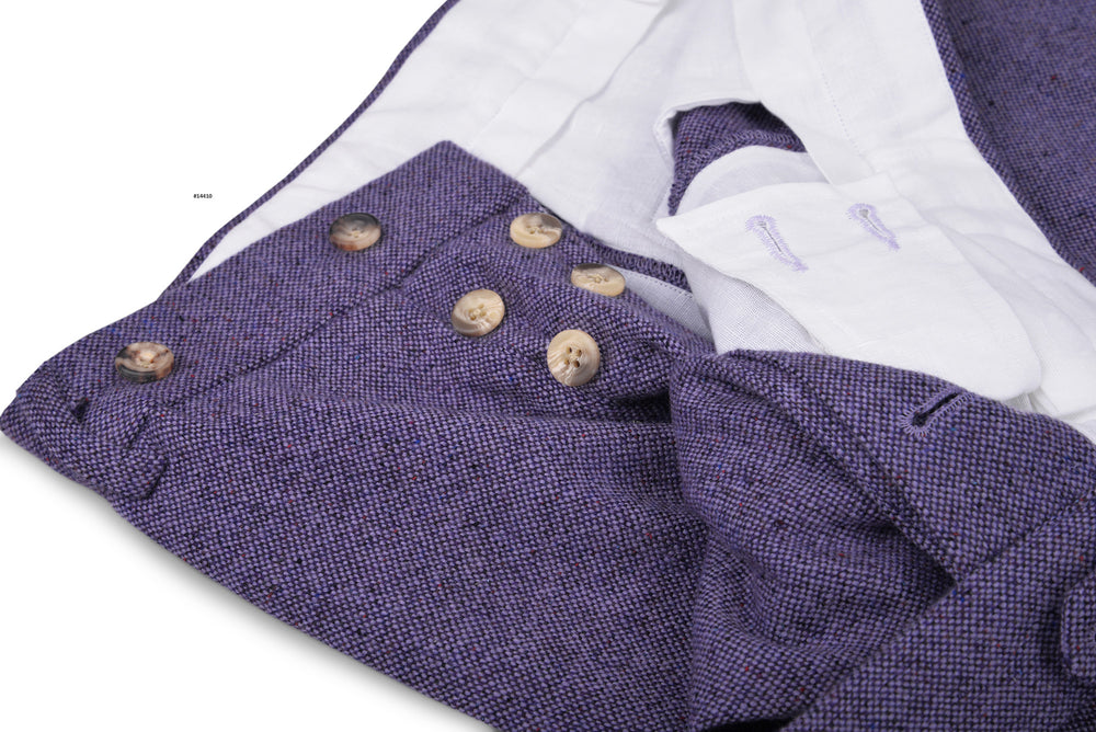 Holland & Sherry Tweed Wool Multicolor Purple With Light Purple With Red Point Tweed