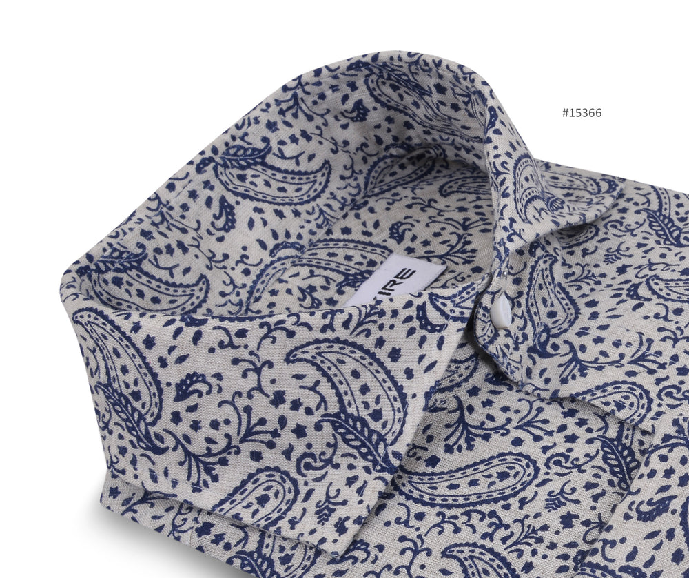Linen: Navy Printed Paisely