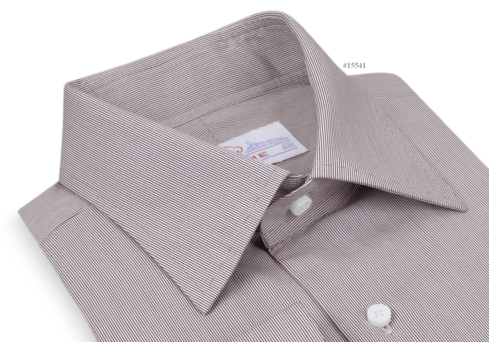 Business-Shirt White Brown Hair Line Stripes (164177863)