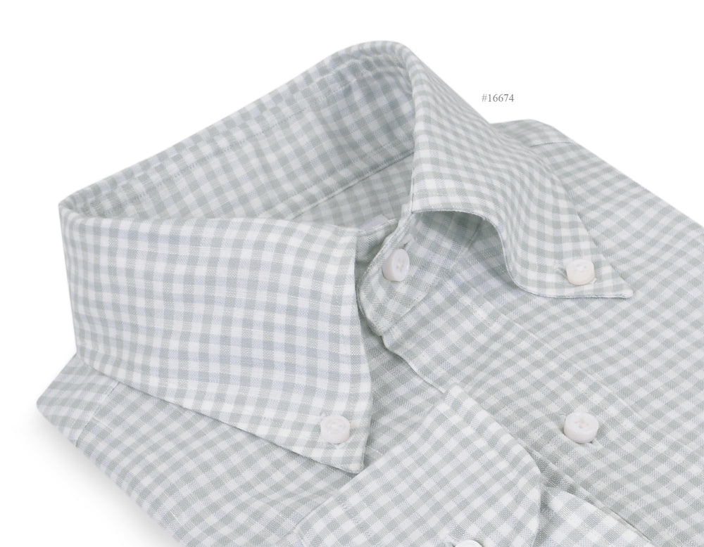 Greenish- Grey Linen Gingham