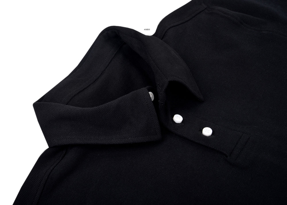Cotton: Black Polo T-shirt