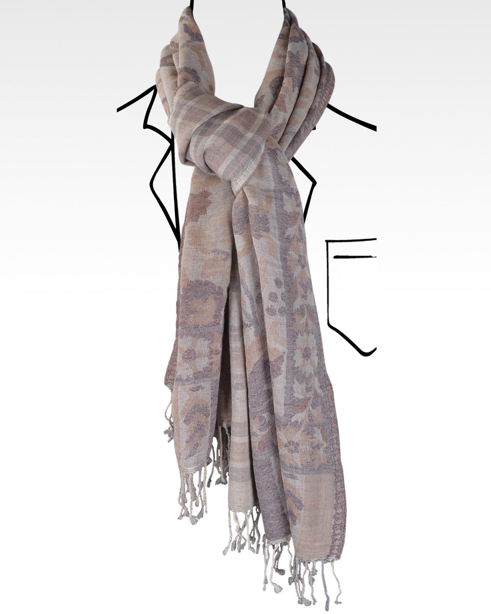 Merino Wool Scarf Tan Cream Purple Flower Duel Side Design