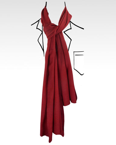 Pure Cashmere Scarf - Maroon Self Texture Weave